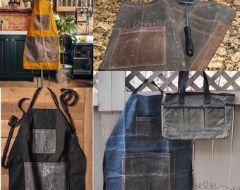 Monogrammed Apron, Waxed Cotton Canvas Utility Apron, Custom Aprons