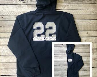 Custom Cheer Jackets, Custom Windbreaker Jacket, Lightweight Rain Jacket, Pullover Jacket for Cheerleaders, Cheer Team Rain Jacket
