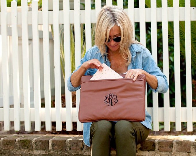 Personalized Laptop Sleeve, Monogram Laptop Sleeve, Custom Laptop Sleeve, Leather Laptop Sleeve, Laptop Case, Student Gifts, Teacher Gifts