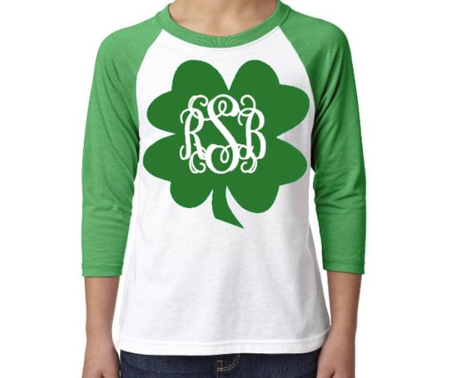 St Patrick's Day Raglan Shirt, Monogram St. Patty's Day Shirt, St. Patrick's Day Shirt, Raglan Shirt, Shamrock shirt, Four leaf clover shirt