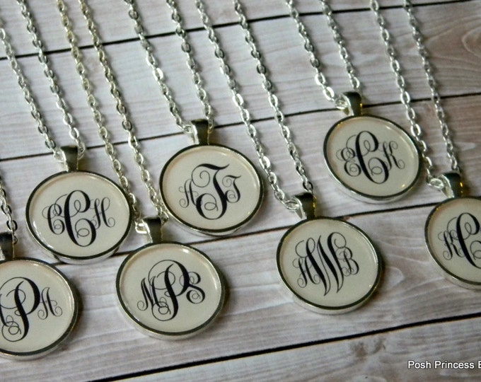 Monogram Necklace, Monogrammed Gift, Silver Initial Necklace Personalized Jewelry Bridesmaids gifts