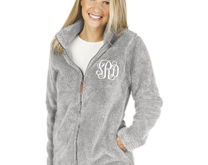 Monogrammed Sherpa, Newport Fleece Full Zip Jacket, Charles River Sherpa Jacket, Monogrammed Sherpa Jacket, Gifts for Her