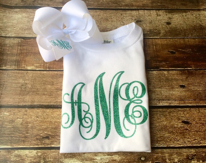 Monogram T shirt and Monogrammed Hair Bow, Monogrammed gifts, Short Sleeve Monogram T Shirt, Monogram hair bow
