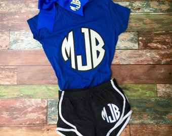 Monogram Cheer bow, Running Shorts, Tshirt, Team Discounts, Girl's and Women's