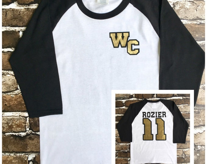 Monogrammed Raglan Shirt, Custom Shirt, School Spirit Tee Shirt, Custom Tee Shirt, Kids Shirts