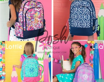 Monogrammed Backpacks, Girls and Boys Backpacks, Personalized Backpacks for Kids, Preppy Book Bags