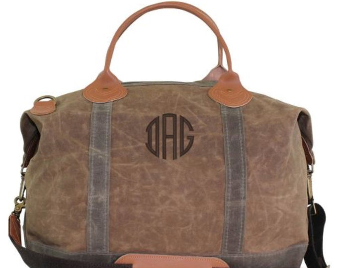 Monogrammed Weekender Bag, Oversized Weekender, Leather and Canvas Weekender Bag, Monogrammed Luggage, Luxury Weekender, Monogrammed Gifts