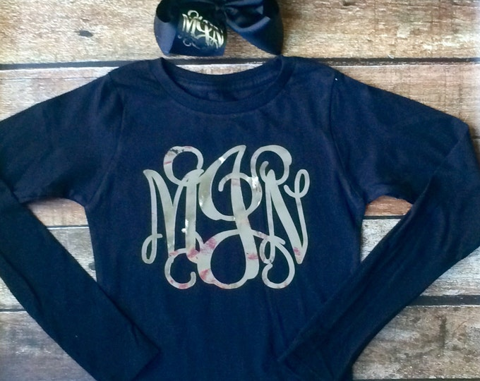 Long Sleeve Monogram T Shirt and Monogram Hair Bow, Monogrammed Shirt, Monogrammed Hair Bow, Monogrammed Gifts