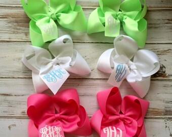 Monogrammed Hair Bow Glitter Monogram Boutique Hair Bow, Headband, Childrens, Glitter Monogram, Preppy Glitter Monogram Gifts