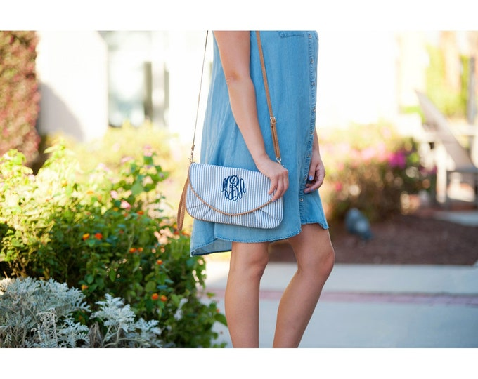 Monogrammed Seersucker Clutch, Bridesmaid Clutch, Monogrammed Gifts, Gifts for Her