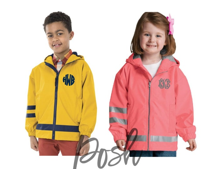 Children's Rain Jacket - Monogram Rain Jacket - Kids New Englander Jacket - Rain Jackets for Boys and Girls