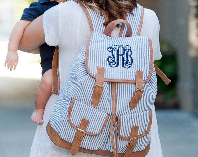 Monogrammed Seersucker Backpack, Book bag, Personalized Backpack, Monogrammed Gifts for Back to School