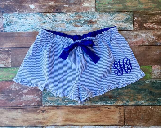 Monogrammed Seersucker Shorts, Monogram Shorts, Ruffle Seersucker Shorts, Monogram Seersucker Pajamas, Monogrammed gifts, Bridesmaid Gifts