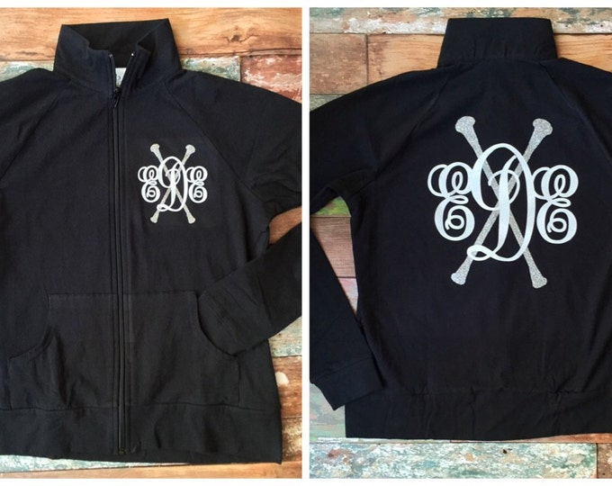 Monogrammed Majorette Jacket, Warm up jacket, Baton, Twirler, Cheer, Dance, Practice Jacket, You Choose Colors and Style