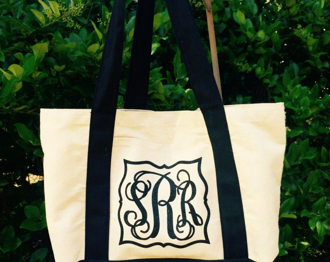 Monogram Tote Bag Canvas Tote bag Weekend Tote Bag Bridesmaid gift Monogrammed Gifts