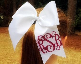 Monogrammed Cheer bows - Girls Hair Bows - Cheerleader Bows