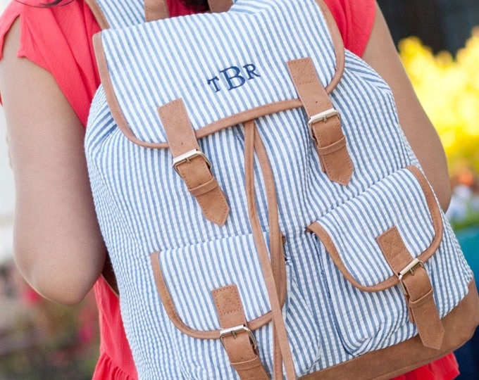 Monogrammed Seersucker Backpack, Book Bag, Personalized Backpack, Monogrammed Gifts, Back to School, Preppy Backpack, Teacher's Bag