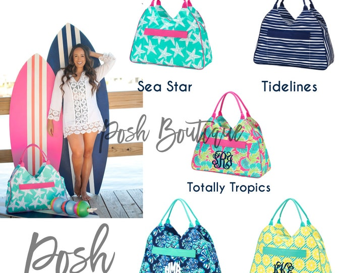 Monogrammed Beach Bag, Weekender Bag, Bridesmaid Gifts, Bridal Shower Gifts, Group Discounts, Jumbo Beach Bags