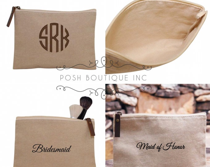 Monogrammed Cosmetic Bag, Monogrammed Jute Clutch, Bridesmaid Gifts, Women's Makeup Bag, Gifts under 10