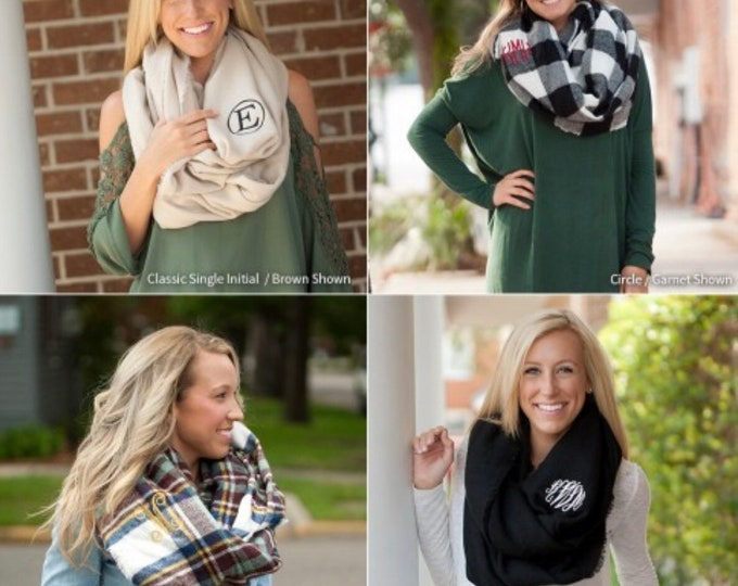 Monogrammed Scarf, Monogram Infinity Scarf, Gifts for Her, Christmas Gifts, Group Order Discounts, Londyn Infinity Scarf