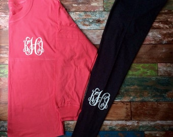 Monogrammed leggings, Personalized, Leggings, Monogrammed, Bridesmaid Gifts, Cheer, Dance, Workout, Girls, Teens, Women, Team Discounts