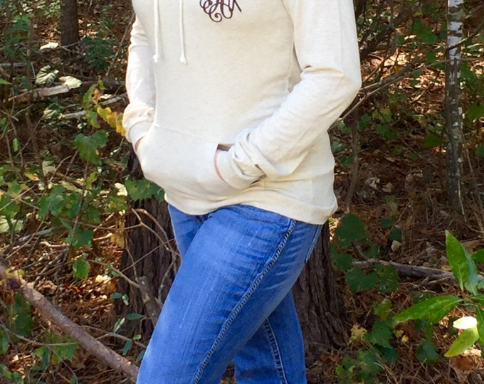 Monogrammed Organic Cotton Lightweight Hoodie, T shirt hoodie, Monogrammed Sweater, Monogrammed pullover, Monogram gifts