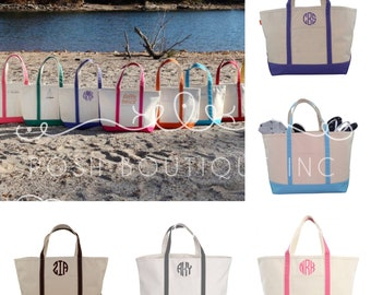 Monogram Canvas Tote Bag, Personalized Boat tote, Zip Top Boat Tote, Bridesmaid gift, Corporate Gifts, Monogrammed Totes