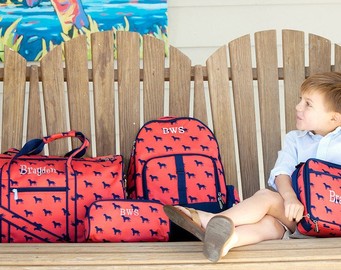 Boys Backpack, Duffle Bag, Lunchbox, Toiletry Bag, Pencil Case, Monogrammed Bags for Boys, Dog Days Collection