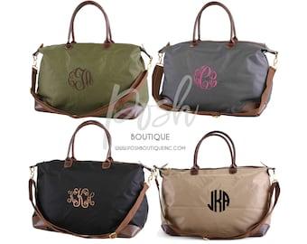 Monogrammed Nylon Weekender Bag, Personalized Weekender Bag, Bridesmaid Bags, Gifts for Her, Monogram Travel Bags