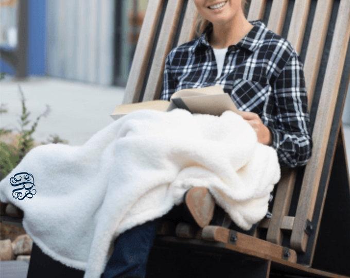 Sherpa Blanket, Monogrammed Blanket, Personalized Blanket, Throw Blanket, Monogrammed Gifts, Dorm Gifts, Personalized Blankets
