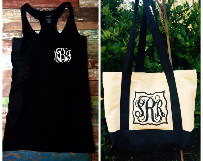 Monogram Swimsuit Coverup and Monogram Beach Bag Set, Monogrammed Gifts, Bridesmaid Gifts, Bachelorette Party Gifts
