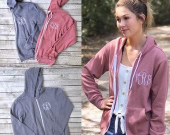 Monogrammed Full Zip Hoodie for Women | Lightweight zip up Fleece | Personalized Gifts for Her | Unisex Fleece Hoodie | Bridesmaid Gifts