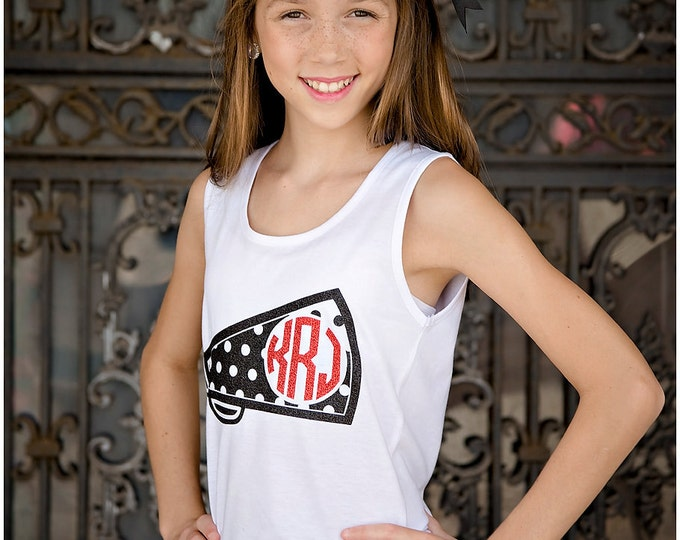 Cheer Tank Top, Monogrammed Megaphone Tank Top, Tank Tops for Cheer Teams