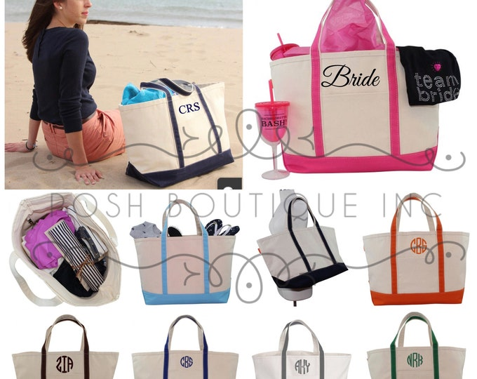 Personalized Boat Tote Bag, Zip Top Boat Tote, Bridal Party Gifts, Bridesmaid gift, Corporate Gifts, Monogrammed Totes