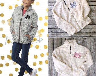Monogrammed Full Zip Sherpa, Sherpas for Girls and Women, Group Order Discounts, Monogrammed Sherpa Jacket, Gifts for Her
