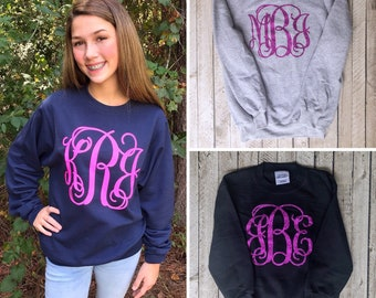 Monogrammed Pullover Sweatshirt, Fleece Pullover, Womens and Girls  Sweatshirts, Christmas Gifts for Her Under 20