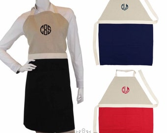 Monogrammed Apron, Personalized Gifts,  Full Length Unisex Apron, Salon, Restaurant, Barber Shop Aprons