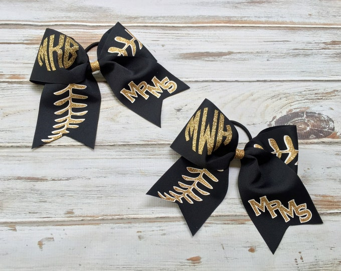 Cheer Bows, Hair Bows, Monogrammed Softball Team Cheer Bows, Softball Bows, Team Discounts, Monogram, Baseball Stitches, Team Hair Bow