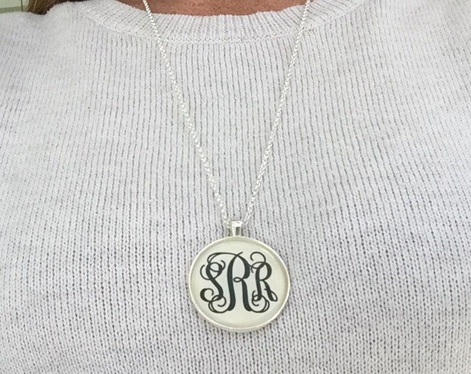 Silver Monogram Necklace New - Larger size, Longer length, Monogrammed Necklaces Personalized Gifts Monogrammed gifts
