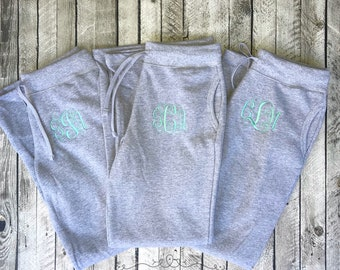 Monogram Sweatpants, Bridesmaid Sweatpants, Personalized Fleece Pants