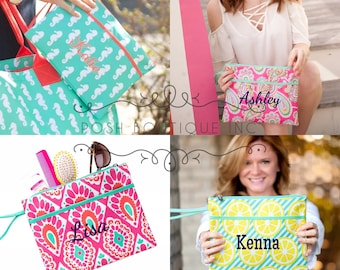 Monogrammed Clutch, Wristlet, Cosmetic Bag, Group Order Discounts, Bridesmaid gifts, Team Gifts, Bachelorette Party, Women's makeup bag