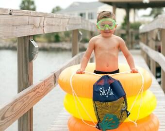 Monogrammed Backpack, Swim Bag, Beach bag, Mesh Shell Bag, Personalized Mesh Tote, Ditty Bag, Dry Bag, Swim Bag for Kids, Shell Tote