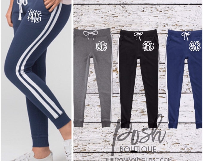 Monogrammed Jogger Sweatpants, Monogrammed Bridesmaid gift, Womens Jogger Sweatpants, Gifts for Her