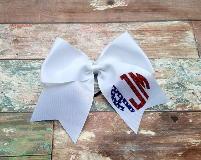 Glitter Monogram Cheer Bow, Hair Bows, Flag Stars Stripes Hair bow Red White and Blue 4th of July Monogram Cheer bow
