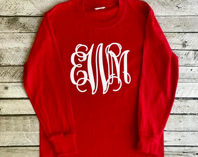 Monogrammed Shirts, Long sleeve Monogram Tee Shirt, Monogram Shirt, Monogrammed Long Sleeve Tee shirt, Gifts under 20, Gifts for her
