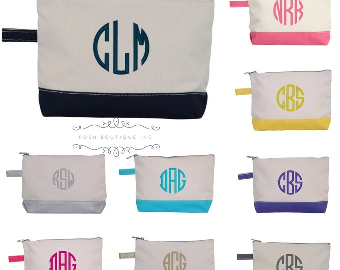 Monogrammed Makeup Bag, Bridesmaid Gifts under 10, Women's Personalized Cosmetic bag, Gifts For Her