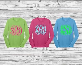 Monogram Shirt, Custom T shirts, Custom Shirts, Monogram long sleeve T shirt, Mother Daughter Tee Shirts, Monogrammed Gifts