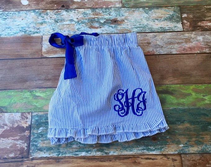 Monogram Seersucker Shorts, Pajama Shorts, Bachelorette Gifts, Bridesmaid Gifts, Bachelorette Party Pajamas, Gifts for Her