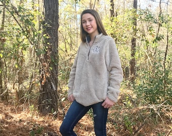 Monogrammed Sherpa Pullover, Newport Fleece Quarter Zip Pullover, Charles River Quarter Zip Pullover, Monogram Pullover, Gifts for Her