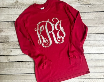 Monogram Shirt, Monogrammed Long Sleeve T shirt, Monogrammed Gifts, Monogram Tee shirts, Monogrammed gifts, Girl's and Women's sizes